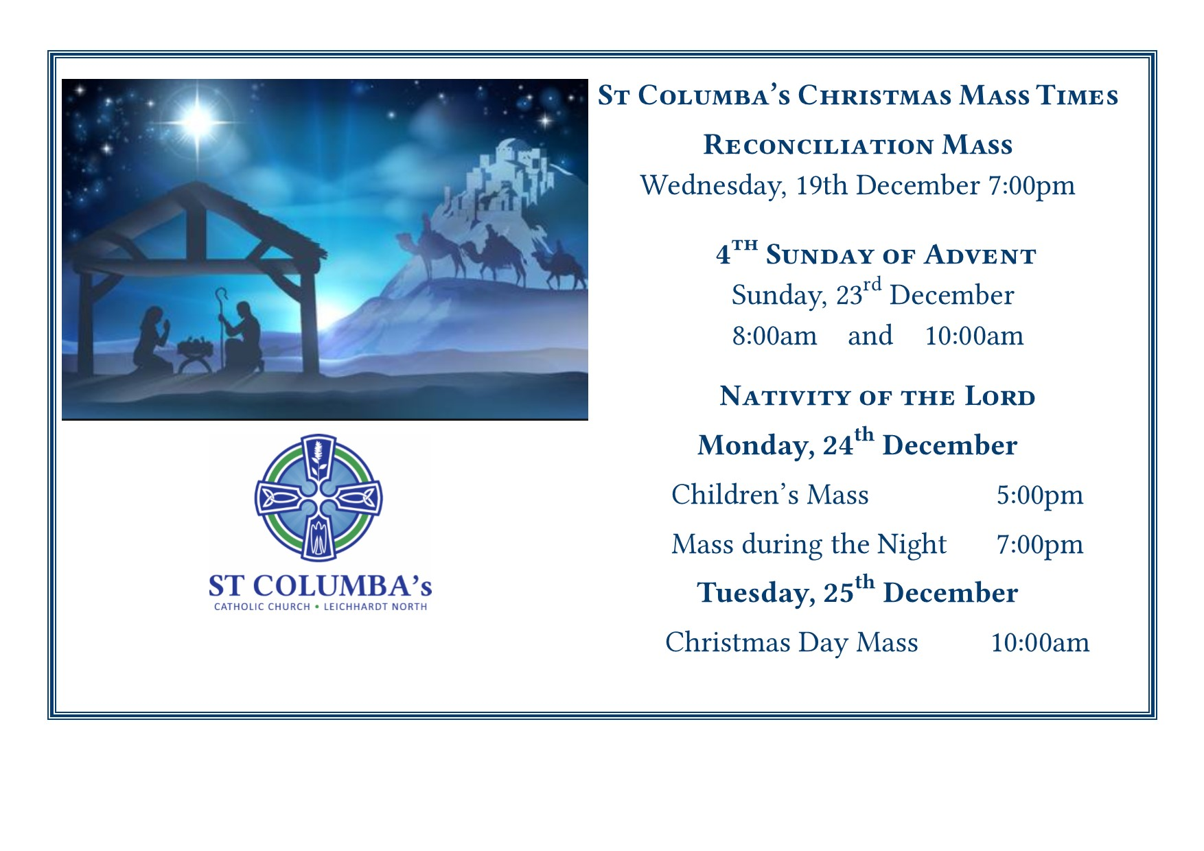 Christmas Mass times for church Webiste and Foyer
